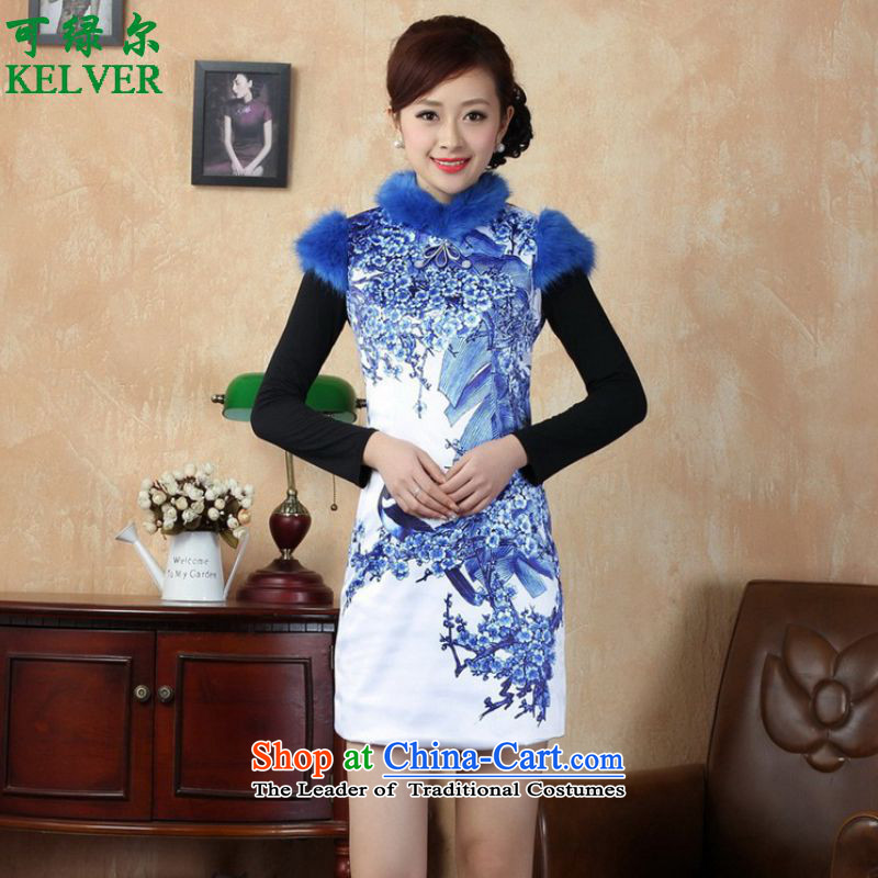 To Green's trendy new for women of ethnic Chinese improved dresses suit stitching of Sau San short winter cheongsam ancient _Y0017_ figure M