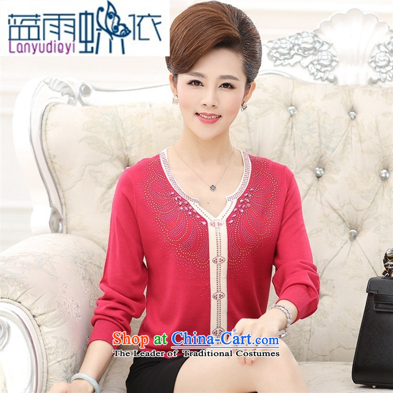 September female boutiques in older women's _ autumn boxed long-sleeved T-shirt large load new fall mother ironing drill V-Neck Knitted Shirt large red聽120