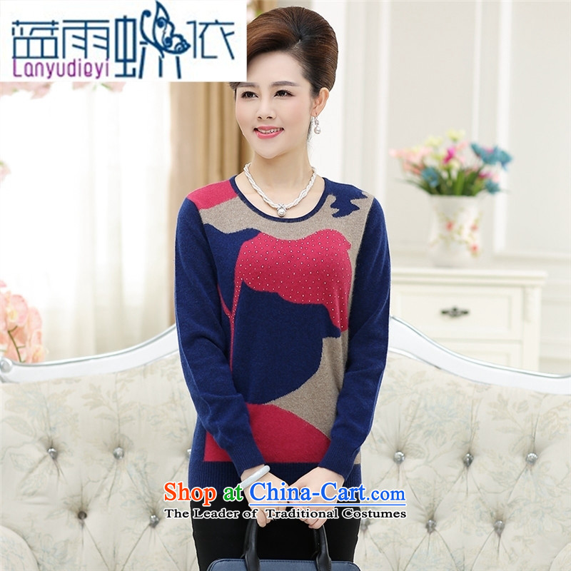September Girl Store * New New Korea long-sleeved Pullover knitwear stingrays woolen sweater mother blouses blue�XXL