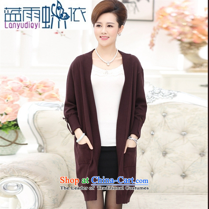 September Girl Store_ new older women knitted shirts Korea Fall edition in mom long knitting cardigan large long-sleeved sweater chestnut horses are code