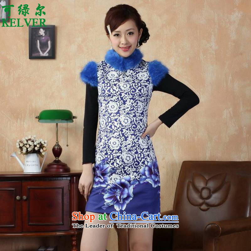 To Green, ethnic Chinese improved women's Mock-neck suit stitching short, Sau San Tong replacing old winter qipao _Y0018_ figure聽L