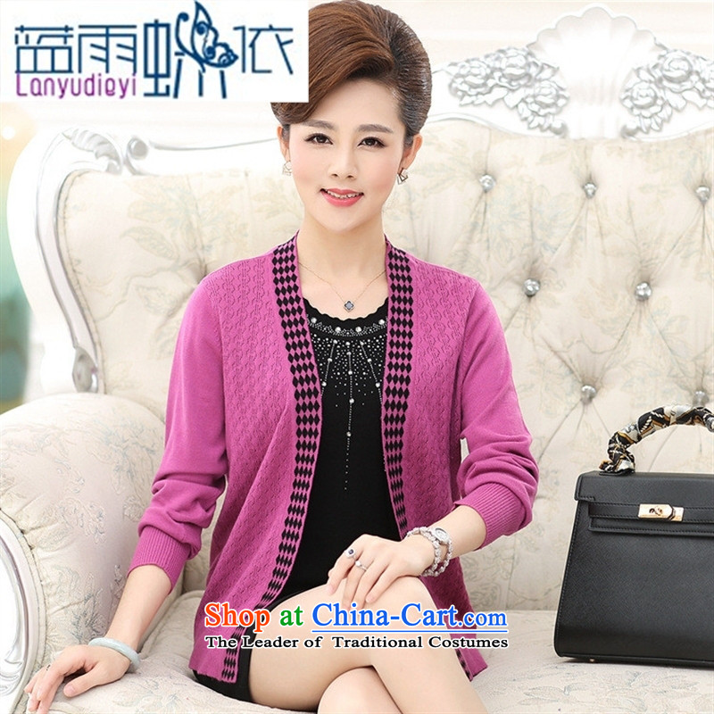 September Girl Store * autumn new) Older women's stylish middle-aged moms with really two long-sleeved jacket Knitted Shirt female pink聽120 Blue rain butterfly according to , , , shopping on the Internet