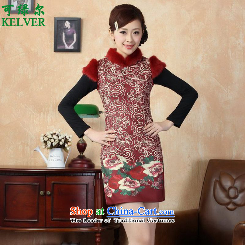To Green, Retro ethnic stylish new female funk Sau San Tong replacing old winter qipao /Y0019# figure?L