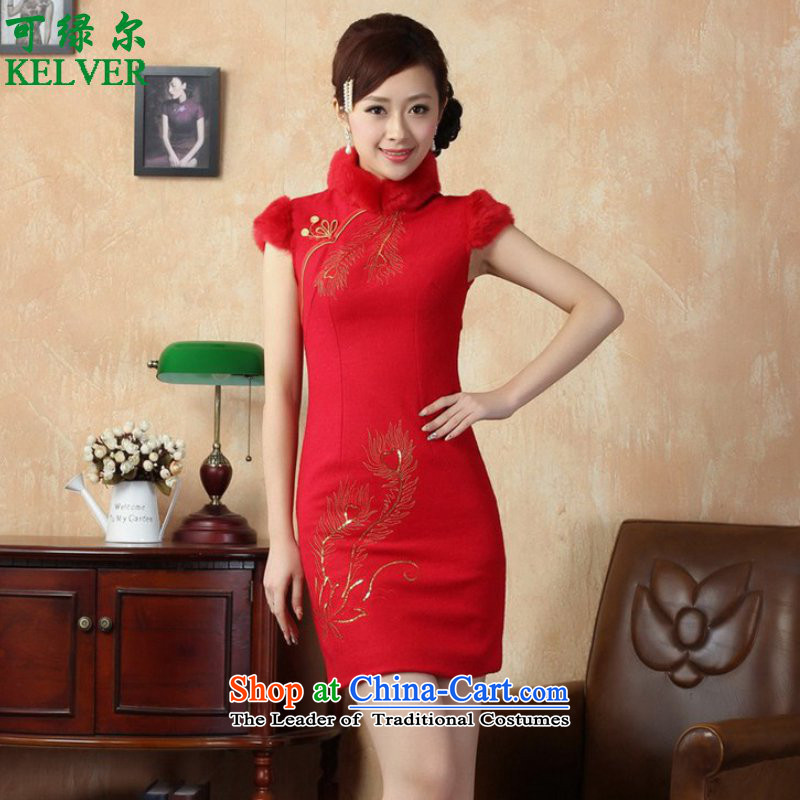 To Green, trendy new ethnic Chinese improvements for women of Sau San short Tang dynasty winter cheongsam ancient /Y0020# RED S