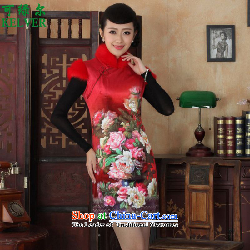 To Green, Stylish new name ethnic Chinese women's improved wind Dresses Need collar up short of Sau San suit winter Tang dynasty qipao /Y0021# ancient -C RED?L