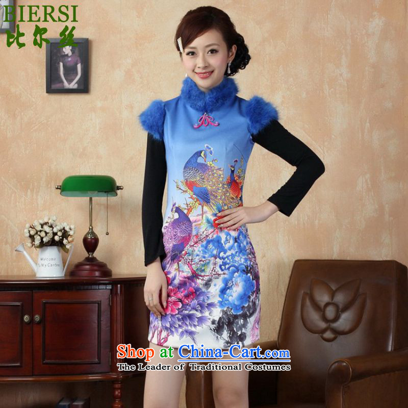 Carl Bildt population of ethnic retro trendy new for women short, peacock flower stamp winter Sau San Tong replacing old /Y0022# qipao figure�S