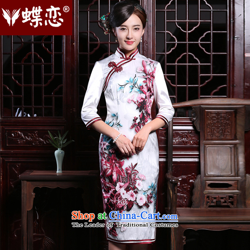 The Butterfly Lovers the summer and autumn of 2015 the new improved fashion, cuff cheongsam dress long Silk Cheongsam   retro figure?M