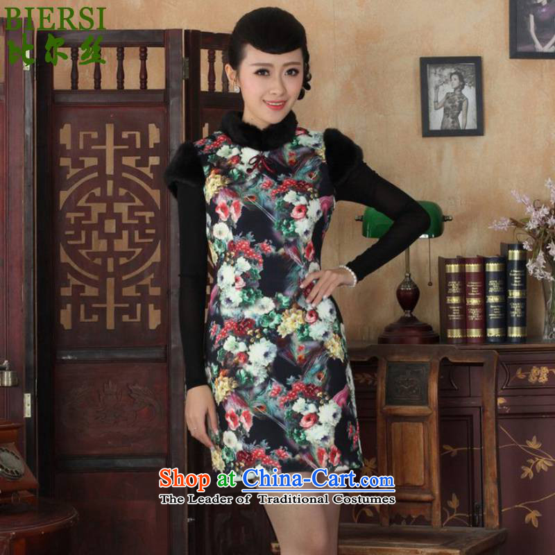 The Bill was the new women's dresses collar Classic tray snap-in short, Sau San National Winter Tang dynasty qipao ancient /Y0026# figure?S