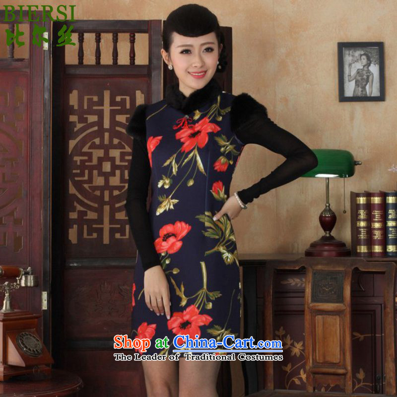 Carl Bildt population of ethnic retro trendy new for women improved dresses short of Tang Dynasty Winter Sau San suit Mrs /Y0027# qipao figure?M