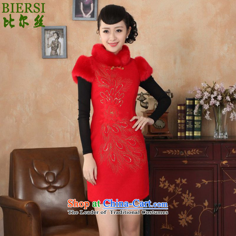 The Bill was the new women's retro improved dresses collar short of Sau San Tong replacing old winter qipao /Y0030# RED�M