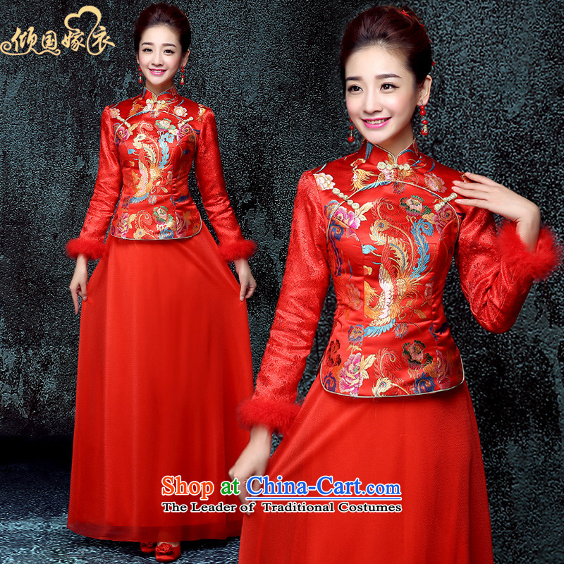 The new 2015 wedding dresses marriages CHINESE CHEONGSAM red long-serving drink wo service of autumn and winter female red燬
