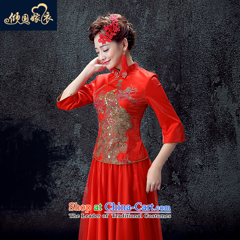 The bride services long winter of bows Stylish retro cheongsam wedding dress Chinese wedding dress autumn 2015 new graphics thin cheongsam red燲XL