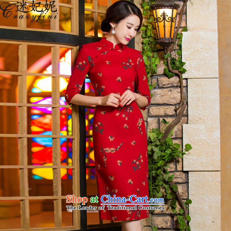 Mini-Princess Anne 2015 Fall_Winter Collections of nostalgia for the new graphics in thin cuff Sau San larger linen long skirt SL02 qipao Samui聽3XL red