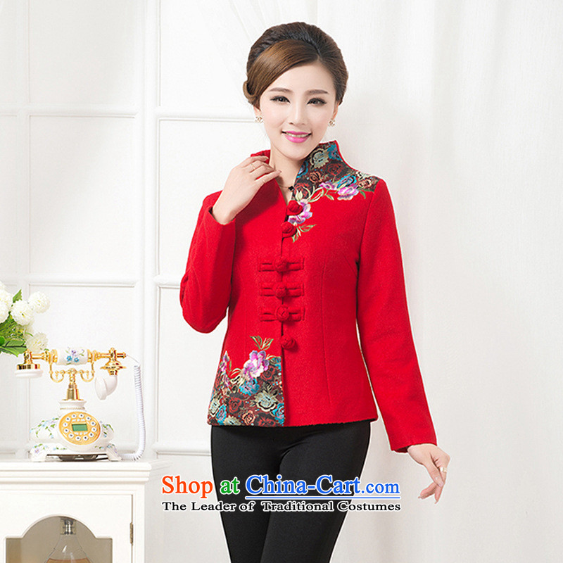 In the number of older women's jacket large load mother long-sleeved T-shirt? gross embroidered collar of autumn and winter new better red hair?燣
