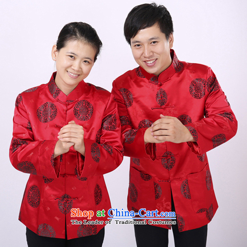 Tang dynasty of autumn and winter couples in older Chinese shirt jacket cotton robe father load men and women's mother female red stripes�L