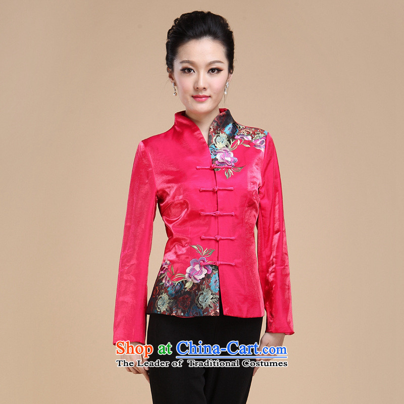 Ms. tea art work of autumn and winter clothing teahouse attendants Tang Dynasty Chinese shirt jacket coat of nostalgia for the new Red single Yi�2XL