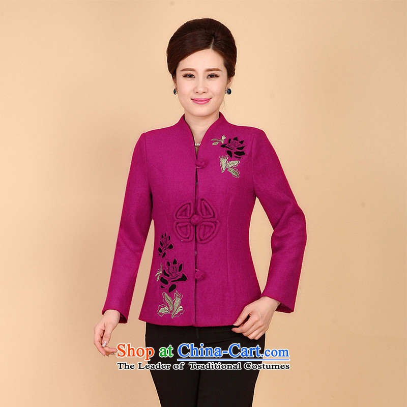 The new middle-aged women of autumn and winter clothes Tang Dynasty Chinese mother load long-sleeved jacket, retro hair? The Red?3XL?