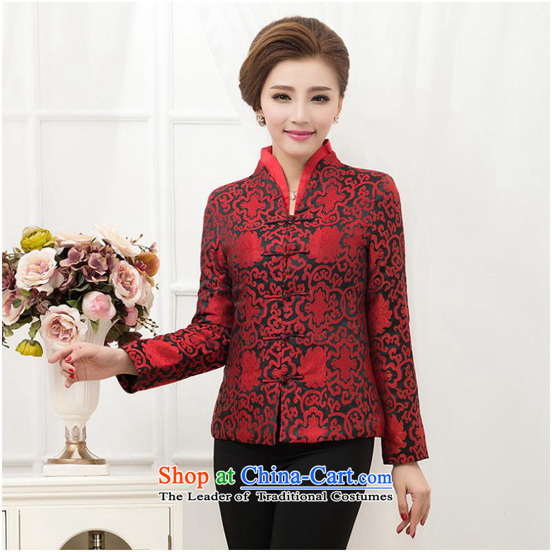 The elderly in the autumn and winter Ms. Tang Dynasty Chinese national wind jacket temperament with middle-aged mother coat ?t��a cotton coat red cotton-?L