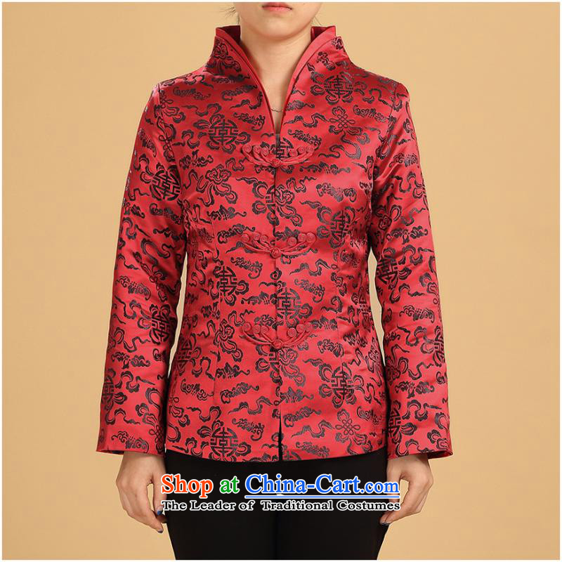 Ms. autumn and winter clothes Chinese mother load procedure has improved ethnic UNIDO services in elderly retro red stripes�L black