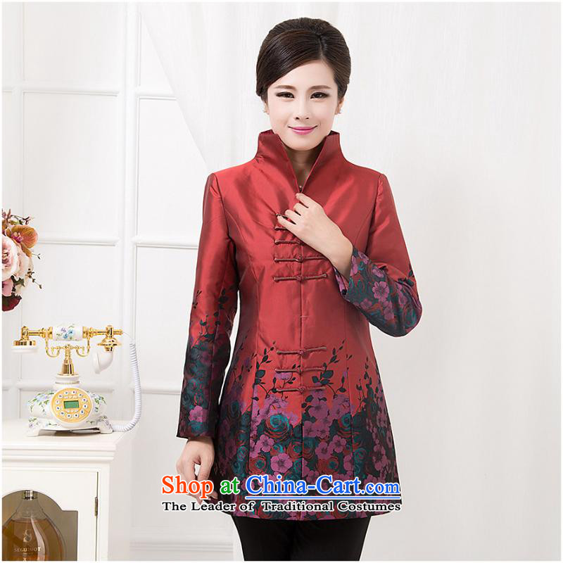 Ms. windbreaker autumn and winter new moms long-sleeved shirt with the elderly in the Chinese Long Neck Jacket of red single�5XL Yi