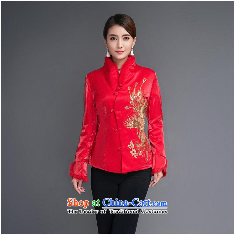 Ms. autumn and winter new shirts robe Chinese brides with Phoenix rabbit hair shirt cotton coat Cotton Thin red cotton�L