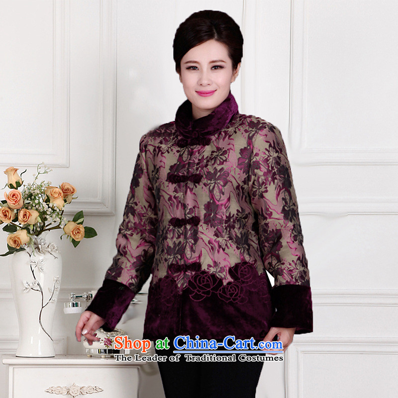 Autumn and winter new elderly female middle-aged ladies jacket coat mother Chinese boxed robe dark red thin cotton�2XL