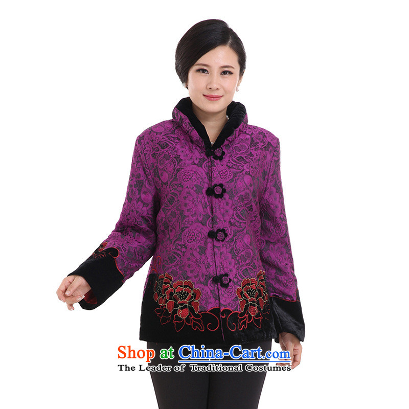 The elderly in the countrysides president of autumn and winter clothes jacket cotton coat mother Chinese robe new boxed purple thin cotton�XL