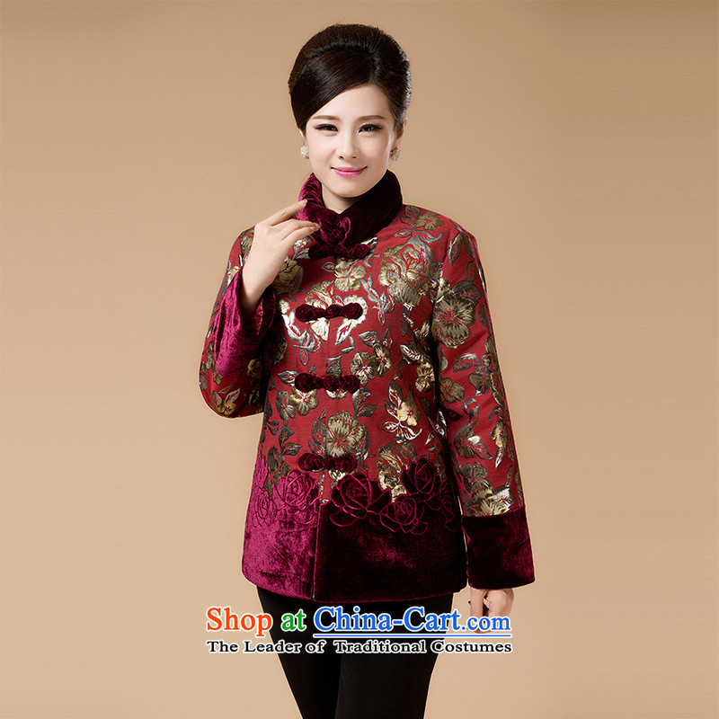 Ms. older jacket middle-aged moms load of autumn and winter long-sleeved shirt thoroughly older persons serving dark red cotton shirt thin cotton 3XL