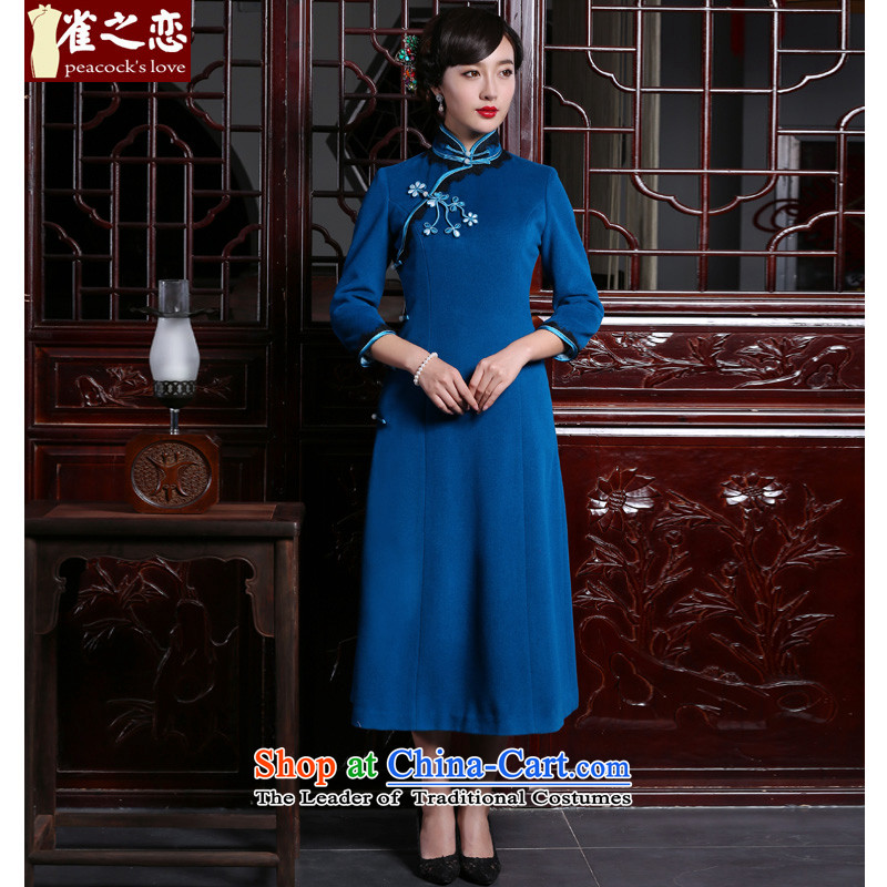 Love of birds-hee-?2015 autumn and winter new cheongsam dress improved gross cheongsam dress is stylish?QC987?BLUE?XXL