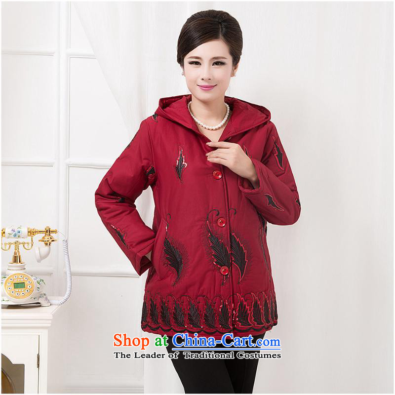 The autumn and winter new Women's jacket, Ms. Mama older loose long-sleeved sweater ?t��a Chinese cotton coat red stripes?4XL
