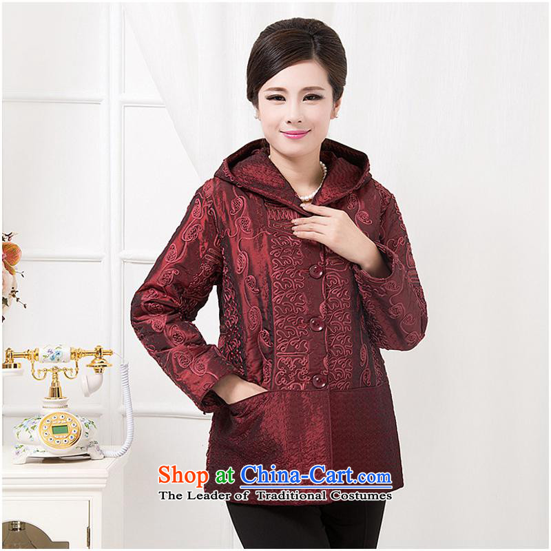 President of autumn and winter coat in older mother Chinese shirt jacket with China wind cotton coat new dark red stripes?4XL