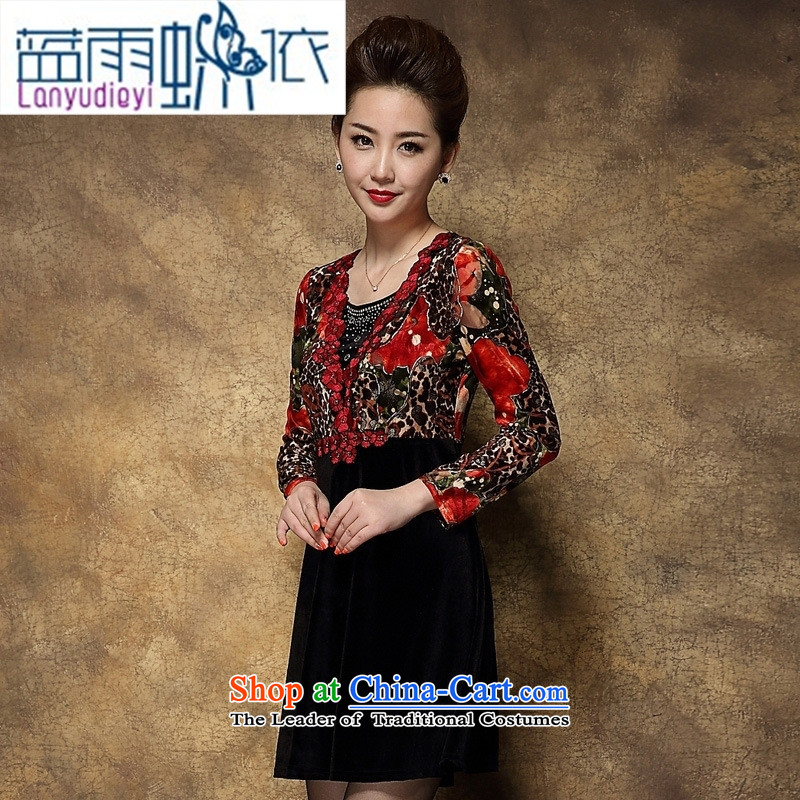Ya-ting shops fall inside the skirt the new and old age are larger middle-aged mother Kim installed wedding velvet Red?2XL