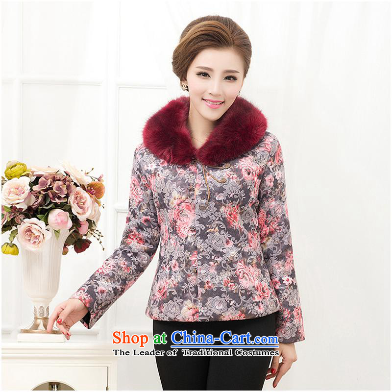 Autumn and winter new and old age, long-sleeved jacket middle-aged mother Chinese gross cotton shirt cotton jacquard yarn-�2XL