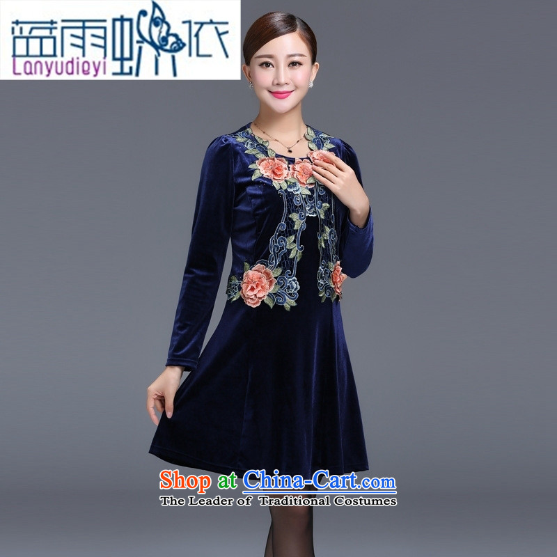 Ya-ting shop 2015 Autumn replacing wedding wedding dress mother with two-piece Kim velvet older blue�XXL