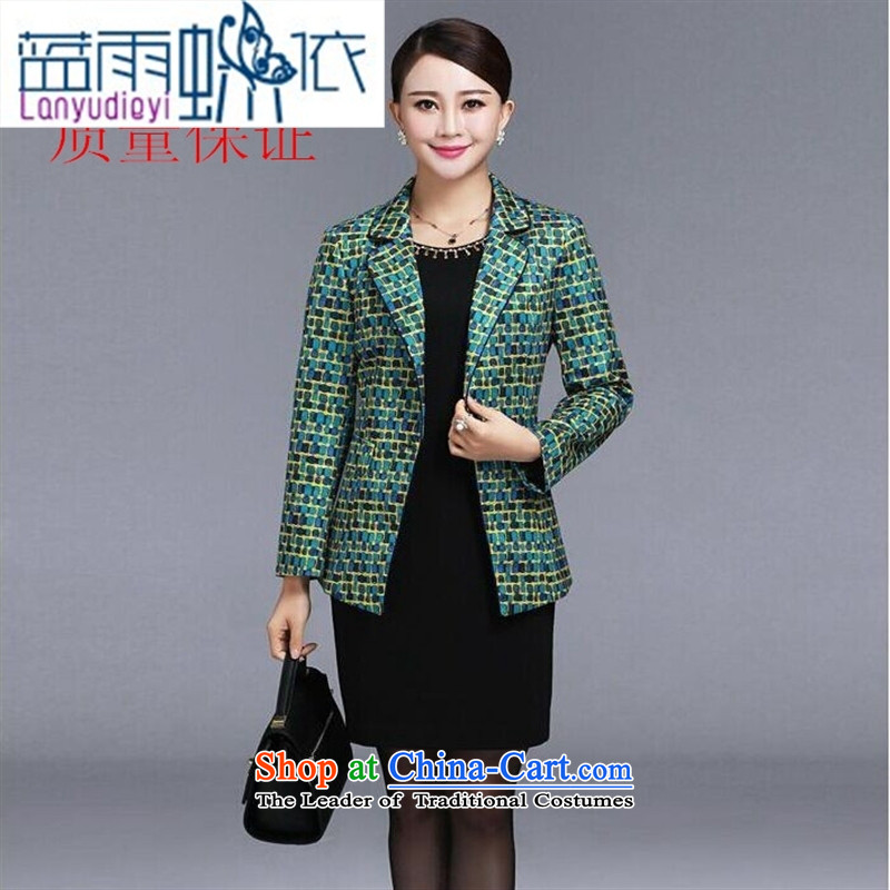 Ya-ting shop 2015 new autumn and winter long-sleeved dresses high-end of the middle-aged mother dresses with two-piece Blue?M