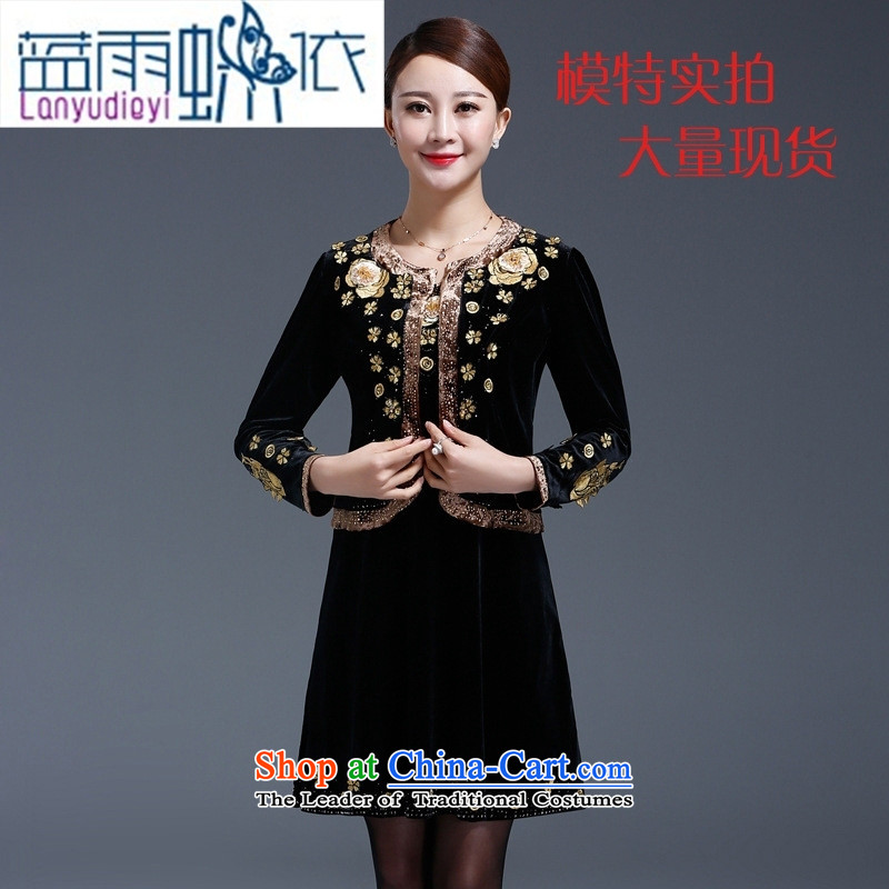 Ya-ting shop in the autumn of replacing a wedding banquet older wedding-dress mother kit installed two upscale Kim black velvet�XXXL