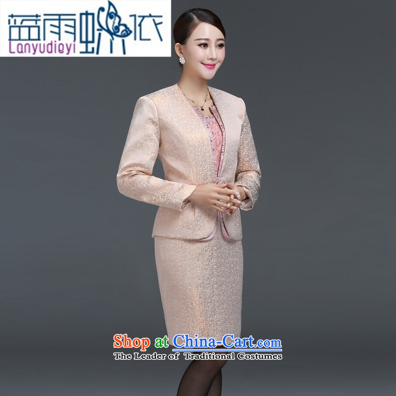 Ya-ting Shop Boxed autumn 2015 mother high-end wedding large female dress in older dresses two kit skirt gold-orange燲L