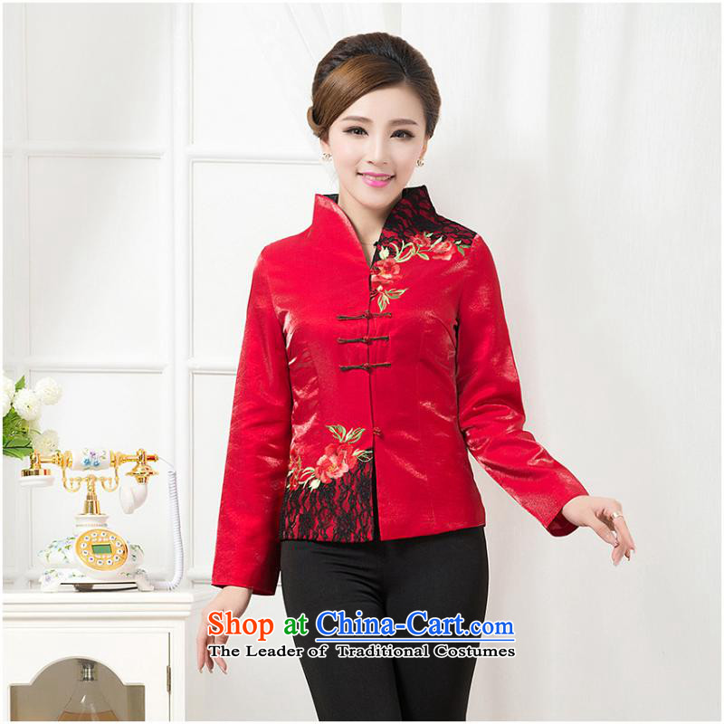 President of autumn and winter coats long-sleeved shirt with Chinese cotton workers mother serving tea art hotel red cotton robe�2XL
