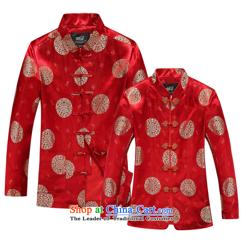The elderly in the Tang Dynasty Men and Women's jacket of autumn and winter load couples long-sleeved made wedding Chinese mother with her father on female Red single Yi�165