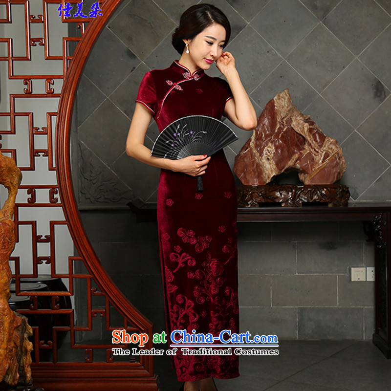 Jia Mei GOLDEN PLUSH cheongsam dress 2015 Fall/Winter Collections New Stylish retro improved long Ms. Mama replacing & Kempe 5511 Sau San wine red?XL