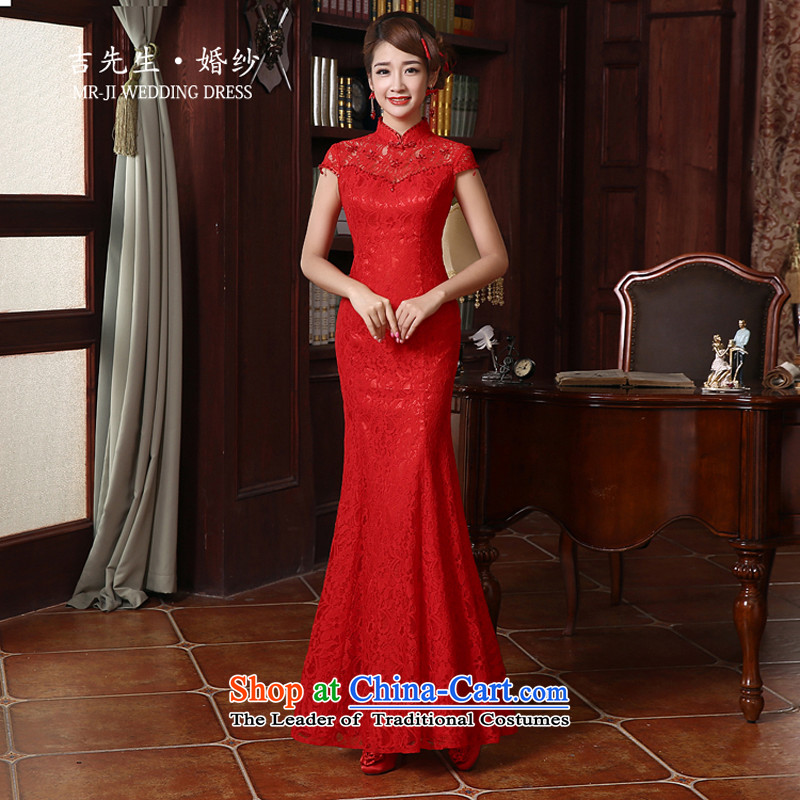 Mr. Guiss�2015 new design elements of Chinese traditional stylish and elegant and sexy package and long qipao gown toasting champagne crowsfoot red�S