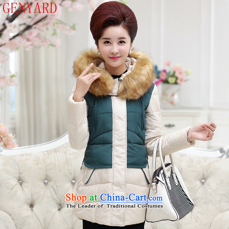 The elderly in the new GENYARD2015 female winter clothing for large cotton wool MOM pack in middle-aged female long dark blue聽3XL cotton coat