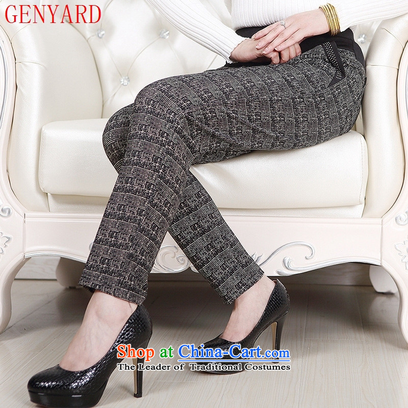 Genyard autumn and winter new elderly female trousers with elastic elderly mother waist add warm thick wool pant snowflake?3XL Coffee