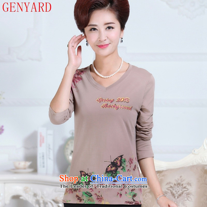 The fall in the new GENYARD older women's long-sleeved T-shirt and stylish with autumn load mother middle-aged female pure cotton shirt this subsection does not forming the support C.O.D. khaki�2XL