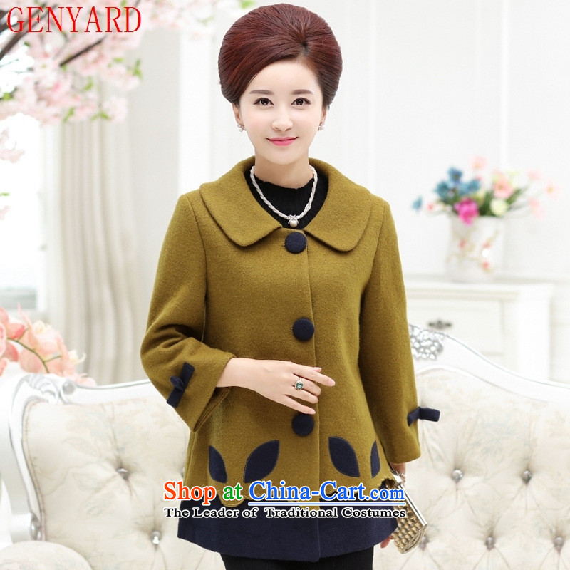 The autumn and winter GENYARD2015 new) Older women's large and stylish with middle-aged mother lapel wool coat Qiu Xiang Huang?�4XL