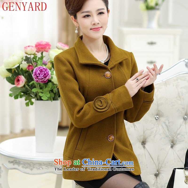The elderly in the large GENYARD women's gross middle-aged female shirt? Boxed short of autumn and winter load new wool a jacket orange�3XL