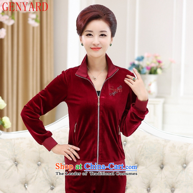 In the new winter GENYARD elderly ladies casual sports two kits with middle-aged mother plus lint-free thick wool Kit Red Gold聽4XL