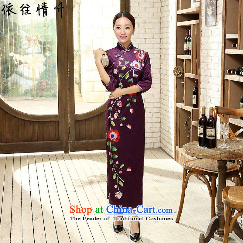 In accordance with the new l love a woman is pressed a mock-neck disc detained Sau San Positioning Classical Painting stretch of 7 cuff qipao /T0010# ancient scouring pads as shown�XL