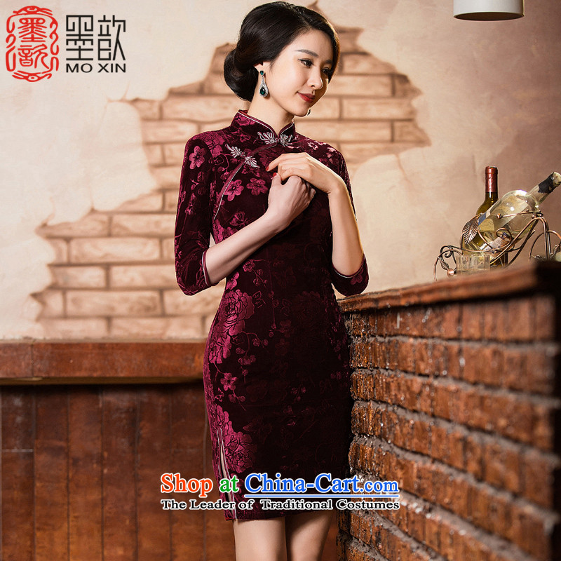 The visit to the core�2015 Kim ? velvet cheongsam autumn in New Older Women's mom pack cheongsam dress retro improved cheongsam dress�QD301�deep red�M