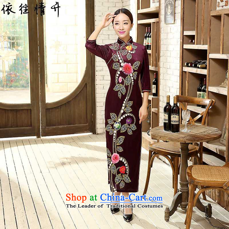 In accordance with the new l love of ethnic Chinese women's improved collar is traversed by the positioning of the poster of Sau San qipao long figure�3XL /T0008# ancient